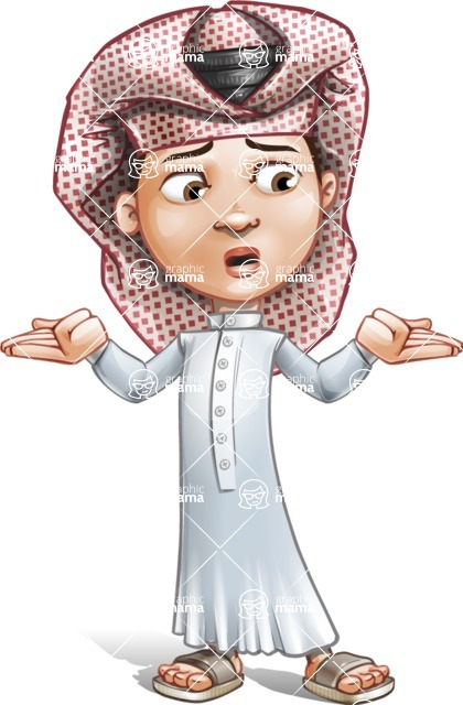 Little Muslim Boy Cartoon Vector Character AKA Nabil - Lost 2