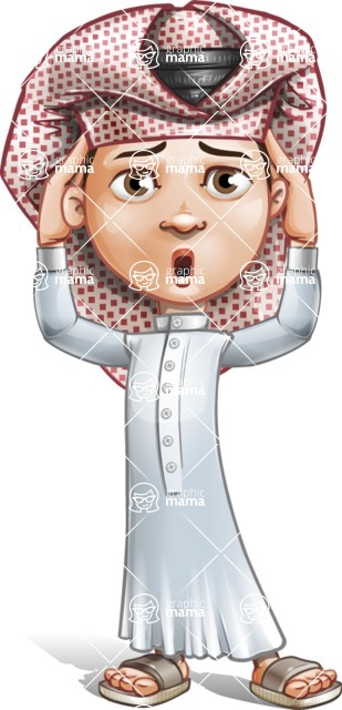 Little Muslim Boy Cartoon Vector Character AKA Nabil - Confused