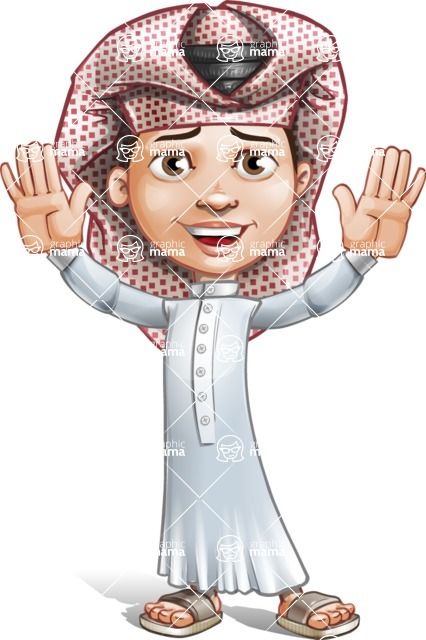 Little Muslim Boy Cartoon Vector Character AKA Nabil - Hello