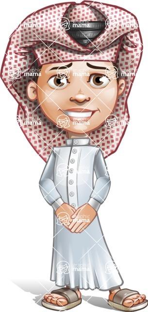 Little Muslim Boy Cartoon Vector Character AKA Nabil - Patient