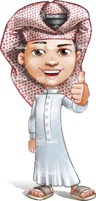 Little Muslim Boy Cartoon Vector Character AKA Nabil - Thumbs Up