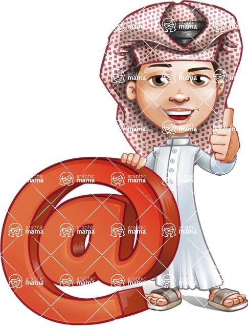 Little Muslim Boy Cartoon Vector Character AKA Nabil - Web