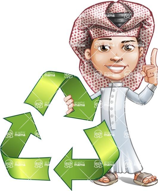Little Muslim Boy Cartoon Vector Character AKA Nabil - Recicling