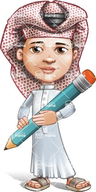Little Muslim Boy Cartoon Vector Character AKA Nabil - Pencil
