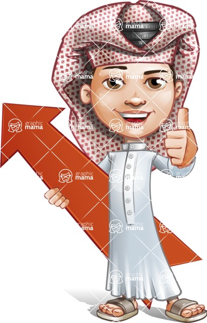 Little Muslim Boy Cartoon Vector Character AKA Nabil - Arrow 1