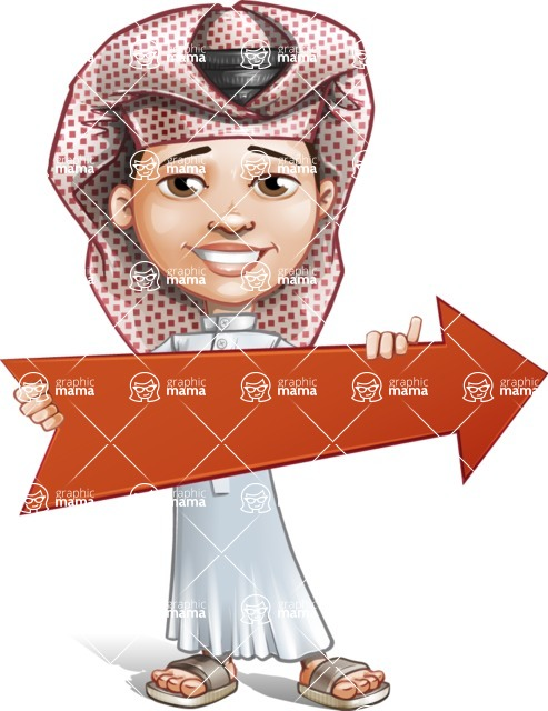 Little Muslim Boy Cartoon Vector Character AKA Nabil - Arrow 2