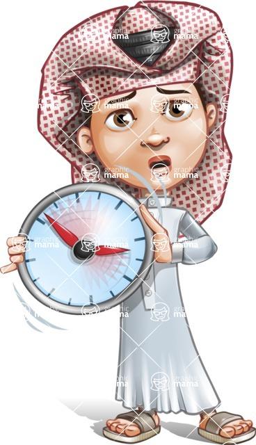 Little Muslim Boy Cartoon Vector Character AKA Nabil - No Time