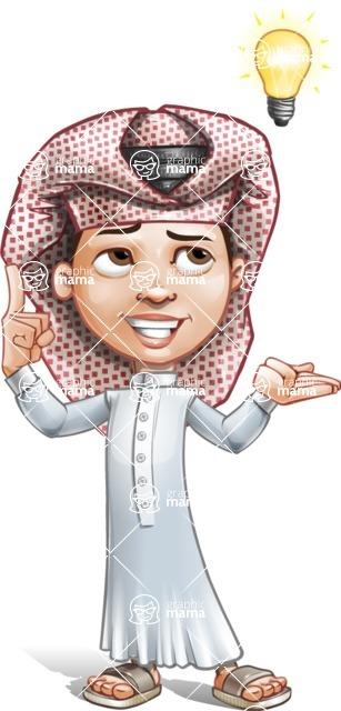 Little Muslim Boy Cartoon Vector Character AKA Nabil - Idea