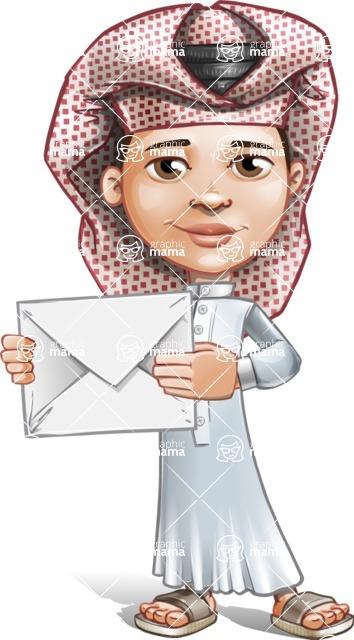 Little Muslim Boy Cartoon Vector Character AKA Nabil - Letter