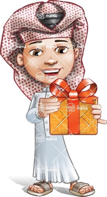 Little Muslim Boy Cartoon Vector Character AKA Nabil - Gift