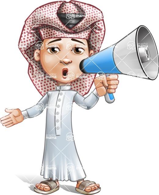 Little Muslim Boy Cartoon Vector Character AKA Nabil - Loudspeaker
