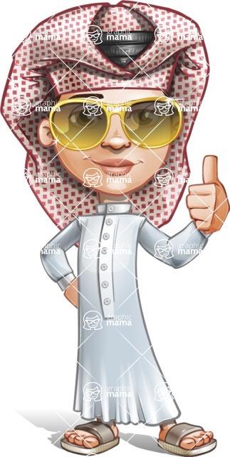 Little Muslim Boy Cartoon Vector Character AKA Nabil - Sunglasses