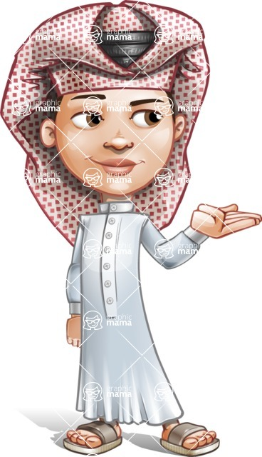 Little Muslim Boy Cartoon Vector Character AKA Nabil - Showcase 2