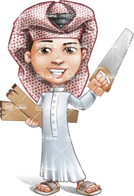 Little Muslim Boy Cartoon Vector Character AKA Nabil - Under Construction