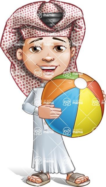 Little Muslim Boy Cartoon Vector Character AKA Nabil - Beach Ball