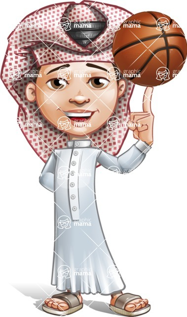 Little Muslim Boy Cartoon Vector Character AKA Nabil - Basket Ball