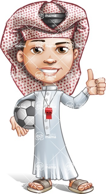 Little Muslim Boy Cartoon Vector Character AKA Nabil - Soccer