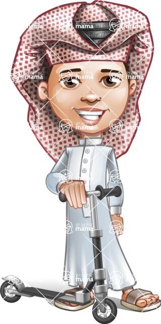 Little Muslim Boy Cartoon Vector Character AKA Nabil - Trike