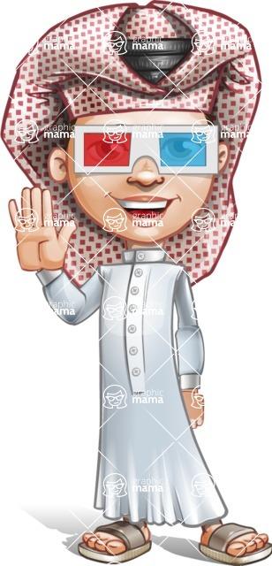 Little Muslim Boy Cartoon Vector Character AKA Nabil - 3D