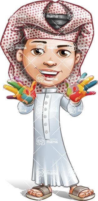 Little Muslim Boy Cartoon Vector Character AKA Nabil - Color Hands
