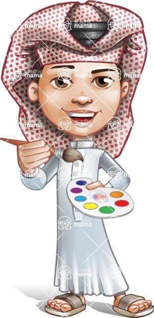 Little Muslim Boy Cartoon Vector Character AKA Nabil - Paint