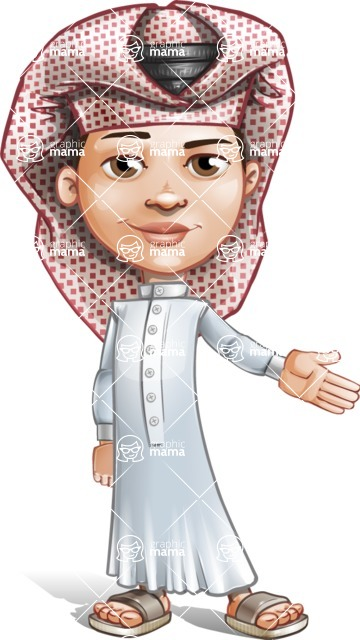 Little Muslim Boy Cartoon Vector Character AKA Nabil - Show
