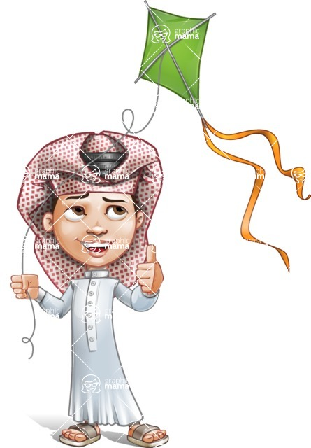 Little Muslim Boy Cartoon Vector Character AKA Nabil - Wind Toy
