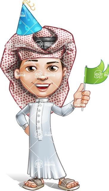 Little Muslim Boy Cartoon Vector Character AKA Nabil - Party 1