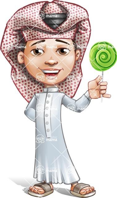 Little Muslim Boy Cartoon Vector Character AKA Nabil - Candy