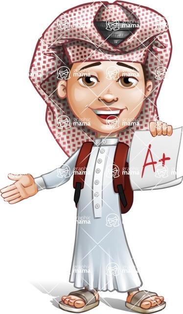Little Muslim Boy Cartoon Vector Character AKA Nabil - School 1