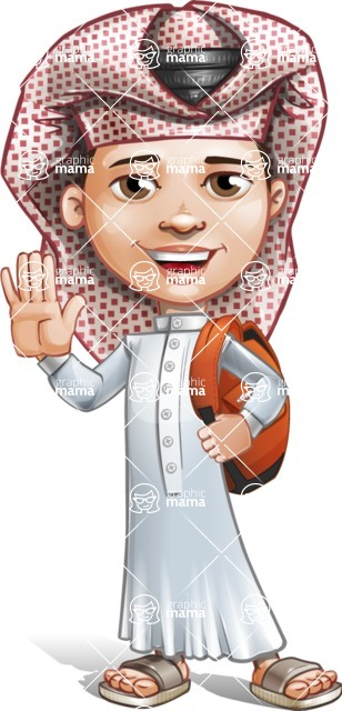 Little Muslim Boy Cartoon Vector Character AKA Nabil - School 2