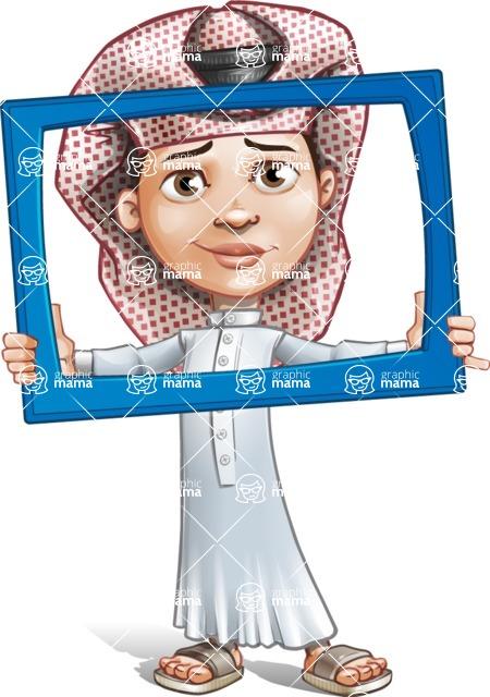 Little Muslim Boy Cartoon Vector Character AKA Nabil - Frame