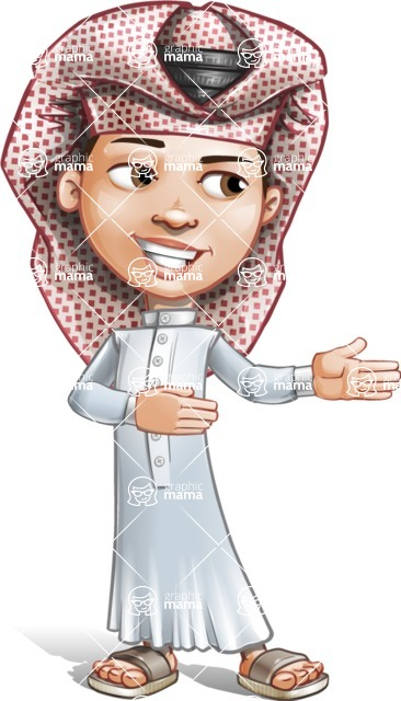 Little Muslim Boy Cartoon Vector Character AKA Nabil - Show 2