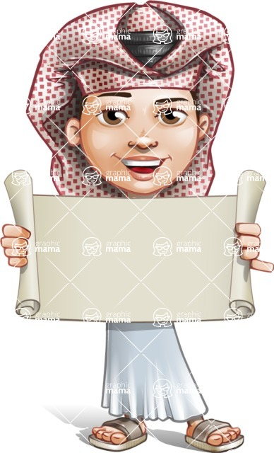 Little Muslim Boy Cartoon Vector Character AKA Nabil - Sign 2