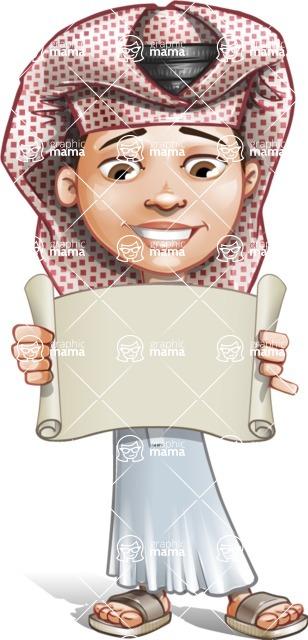 Little Muslim Boy Cartoon Vector Character AKA Nabil - Sign 3