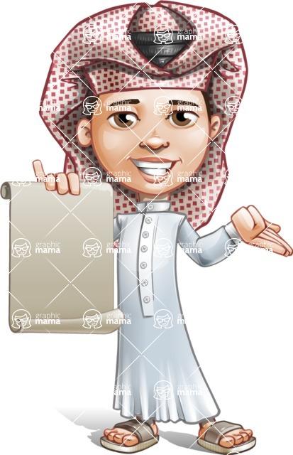 Little Muslim Boy Cartoon Vector Character AKA Nabil - Sign 4