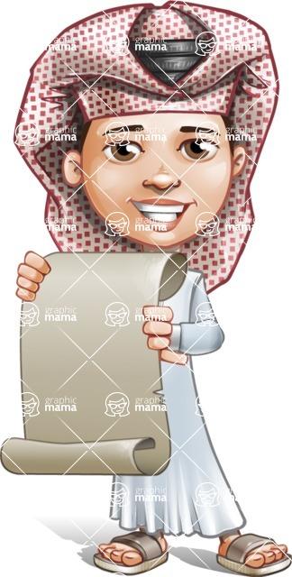 Little Muslim Boy Cartoon Vector Character AKA Nabil - Sign 5