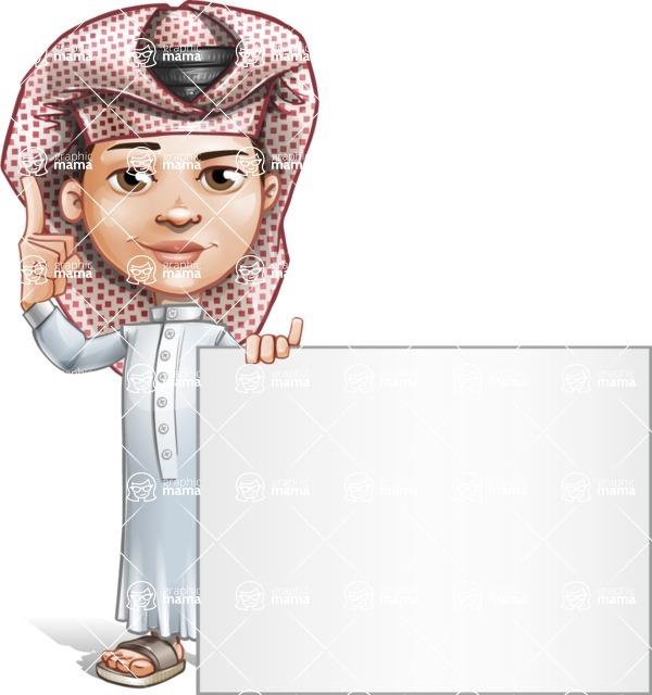 Little Muslim Boy Cartoon Vector Character AKA Nabil - Sign 6