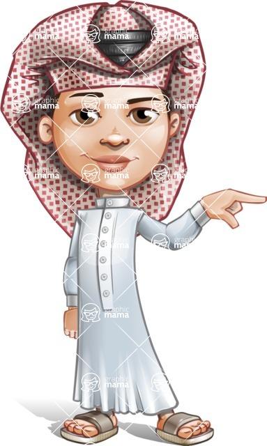 Little Muslim Boy Cartoon Vector Character AKA Nabil - Point