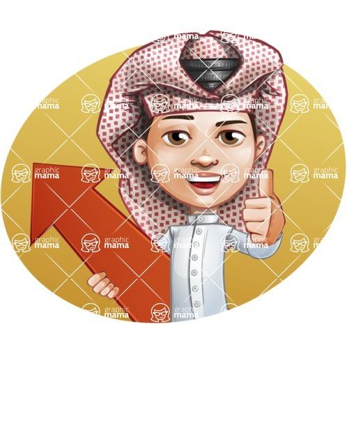 Little Muslim Boy Cartoon Vector Character AKA Nabil - Shape 3