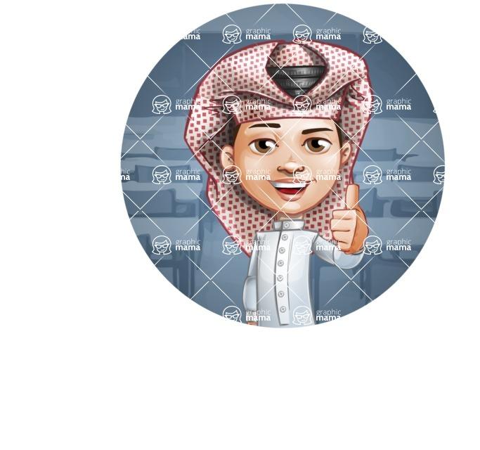 Little Muslim Boy Cartoon Vector Character AKA Nabil - Shape 4