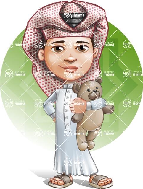 Little Muslim Boy Cartoon Vector Character AKA Nabil - Shape 5