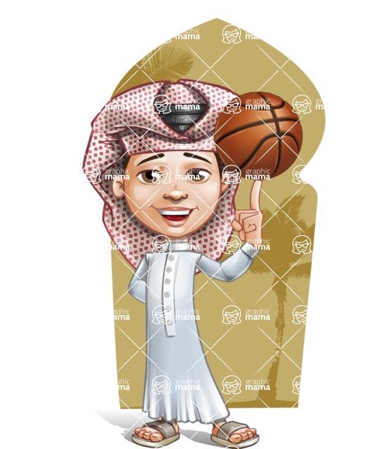 Little Muslim Boy Cartoon Vector Character AKA Nabil - Shape 6