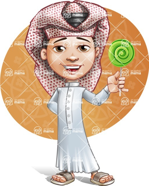Little Muslim Boy Cartoon Vector Character AKA Nabil - Shape 8