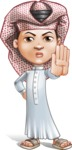Little Muslim Boy Cartoon Vector Character AKA Nabil - Stop