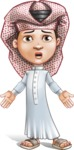 Little Muslim Boy Cartoon Vector Character AKA Nabil - Stunned