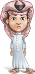 Little Muslim Boy Cartoon Vector Character AKA Nabil - Sad