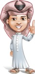 Little Muslim Boy Cartoon Vector Character AKA Nabil - Attention