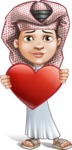 Little Muslim Boy Cartoon Vector Character AKA Nabil - Love