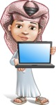 Little Muslim Boy Cartoon Vector Character AKA Nabil - Laptop 1